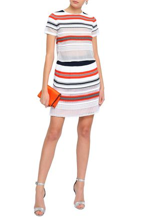 ANTONINO VALENTI Tinsel-trimmed striped stretch and open-knit top