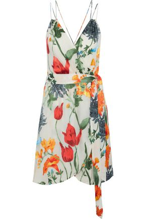 ALICE + OLIVIA Susana wrap-effect floral-print devoré-chiffon mini dress