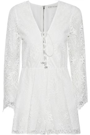ALICE + OLIVIA Lace-up guipure lace playsuit