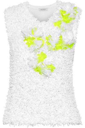 DELPOZO Neon-embellished fringed cotton top