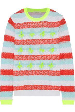 DELPOZO Floral-appliquéd striped pointelle-knit cotton-blend sweater