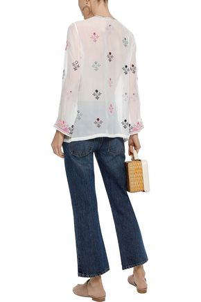 FIGUE Julie tie-front embroidered silk-voile tunic