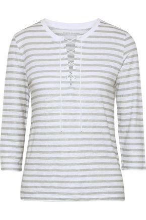 MAJESTIC FILATURES Lace-up striped slub linen-jersey top