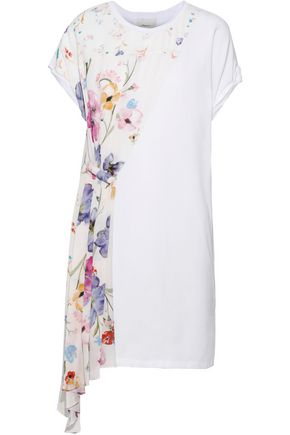 3.1 PHILLIP LIM Draped floral-print silk-paneled cotton-jersey mini dress