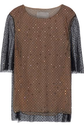 JASON WU Crystal-embellished Swiss-dot tulle top