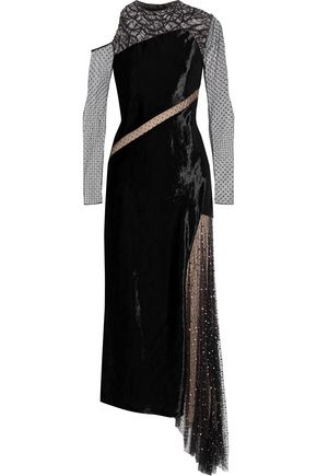 JASON WU Asymmetric embellished lace, Swiss-dot tulle and velvet midi dress