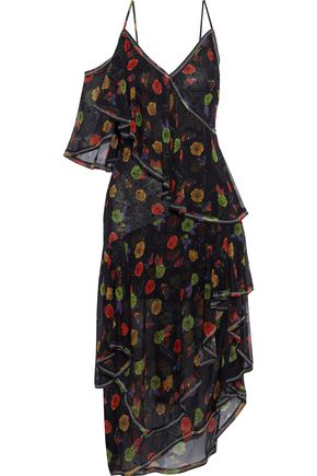 JASON WU Crystal-embellished printed silk-chiffon midi dress