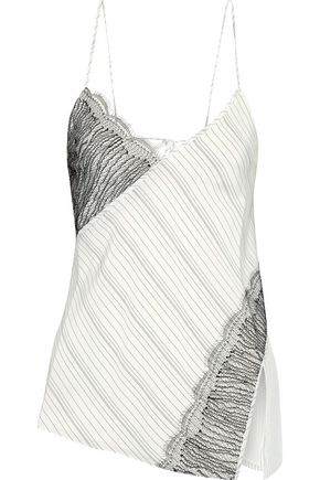 JASON WU Lace-paneled pinstriped silk crepe de chine camisole