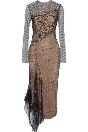 JASON WU Lace-paneled crystal-embellished Swiss-dot tulle midi dress