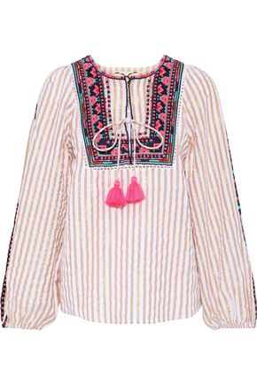 FIGUE Caraiva embroidered striped cotton-blend poplin blouse