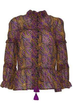 FIGUE Zola printed cotton-blend gauze blouse