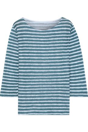 MAJESTIC FILATURES Striped slub linen-jersey top