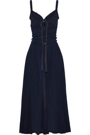 NINA RICCI Frayed crinkled cotton-gauze maxi dress