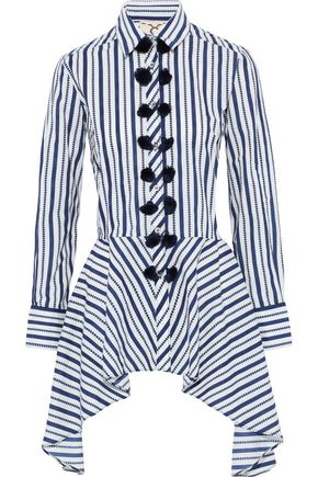 FIGUE Marta tassel-trimmed striped cotton-poplin peplum shirt