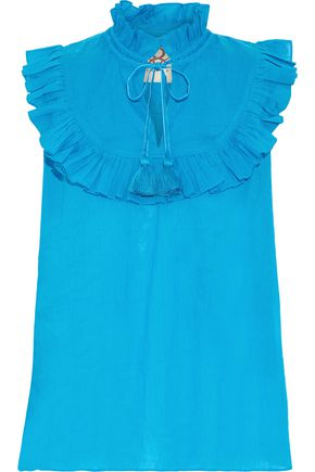 FIGUE Lila ruffle-trimmed cotton-voile blouse