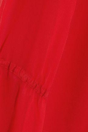 ALICE + OLIVIA Geraldine chiffon-paneled silk crepe de chine tunic