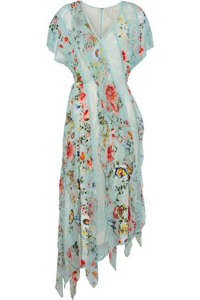 ALICE + OLIVIA Kadence corded lace and floral-print silk-georgette midi dress
