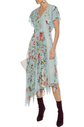 a611f140b8 ALICE + OLIVIA Kadence corded lace and floral-print silk-georgette midi  dress