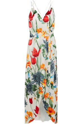 3847981a4a ALICE + OLIVIA Susana wrap-effect floral-print fil coupé chiffon maxi dress