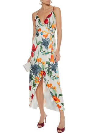ALICE + OLIVIA Susana wrap-effect floral-print fil coupé chiffon maxi dress