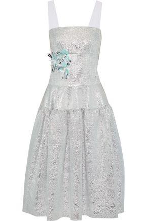 DELPOZO Flared floral-appliquéd burnout lamé dress