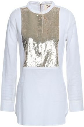 FIGUE Sequin-embellished cotton-mousseline top