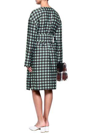 DIANE VON FURSTENBERG Gingham wool and silk-blend twill dress