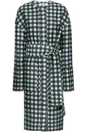 DIANE VON FURSTENBERG Gingham wool and silk-blend twill dress