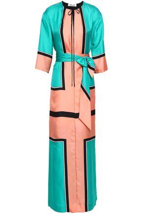 DIANE VON FURSTENBERG Color-block silk-satin maxi dress