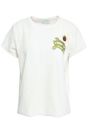 MIRA MIKATI Embroidered cotton-blend velvet T-shirt