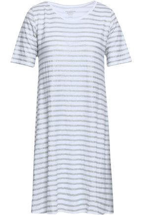 MAJESTIC FILATURES Metallic striped linen-blend jersey mini dress