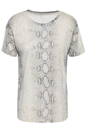 MAJESTIC FILATURES Snake-print silk-jersey T-shirt