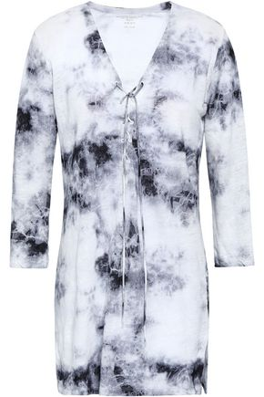 MAJESTIC FILATURES Lace-up tie-dyed linen top