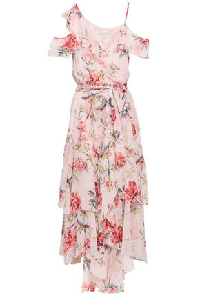 JOIE Cold-shoulder ruffled floral-print silk midi dress