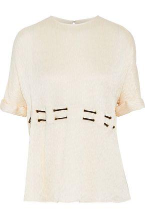 JASON WU Eyelet-detailed plissé satin-crepe top
