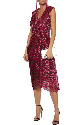 JASON WU Draped flocked silk-blend chiffon dress