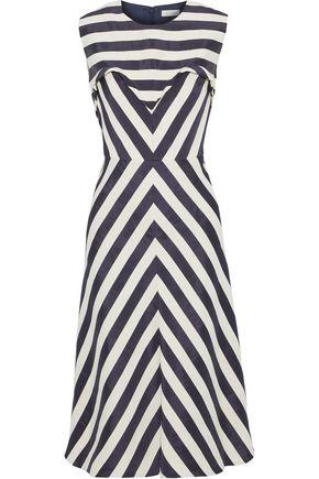 DELPOZO Paneled striped linen-blend jacquard dress
