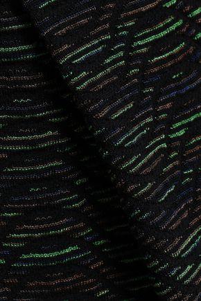 M MISSONI Pleated crochet and jacquard-knit mini dress
