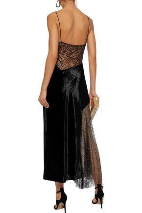 JASON WU Asymmetric embellished lace, Swiss-dot tulle and velvet maxi dress