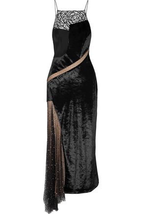 JASON WU Asymmetric embellished lace, Swiss-dot tulle and velvet maxi dress