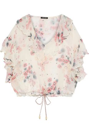 LOVE SAM Ruffled floral-print georgette blouse