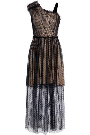 JASON WU Layered pleated point d'esprit maxi dress