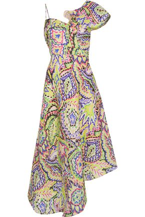 DELPOZO Asymmetric printed silk-gazar midi dress