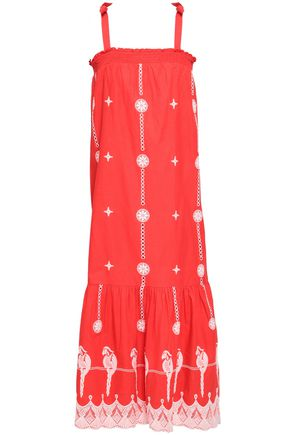 JOIE Fluted embroidered cotton midi dress