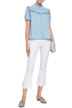 JOIE Ruffled cotton and silk-blend chambray shirt