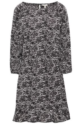 JOIE Gathered printed woven mini dress