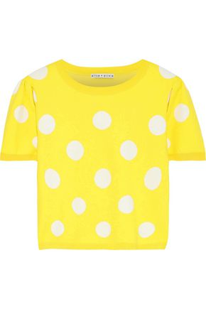 ALICE + OLIVIA Ciara cropped polka-dot jacquard-knit sweater