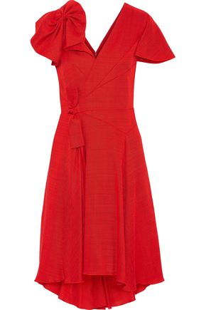 DELPOZO Knotted gathered gauze dress