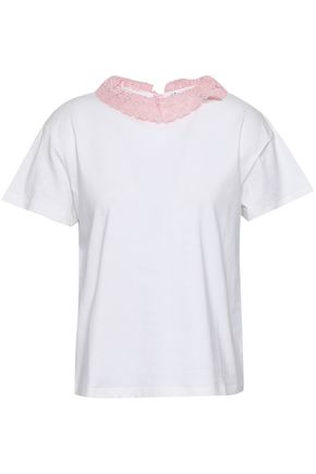 CLAUDIE PIERLOT Lace-trimmed cotton-jersey T-shirt