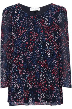 CLAUDIE PIERLOT Bow-embellished printed georgette blouse